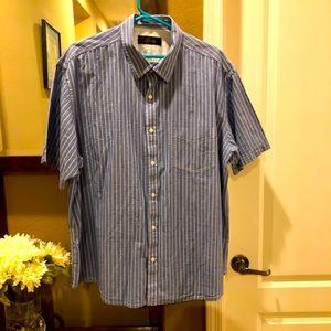 Tasso Elba stripe short button shirt XXL Cotton